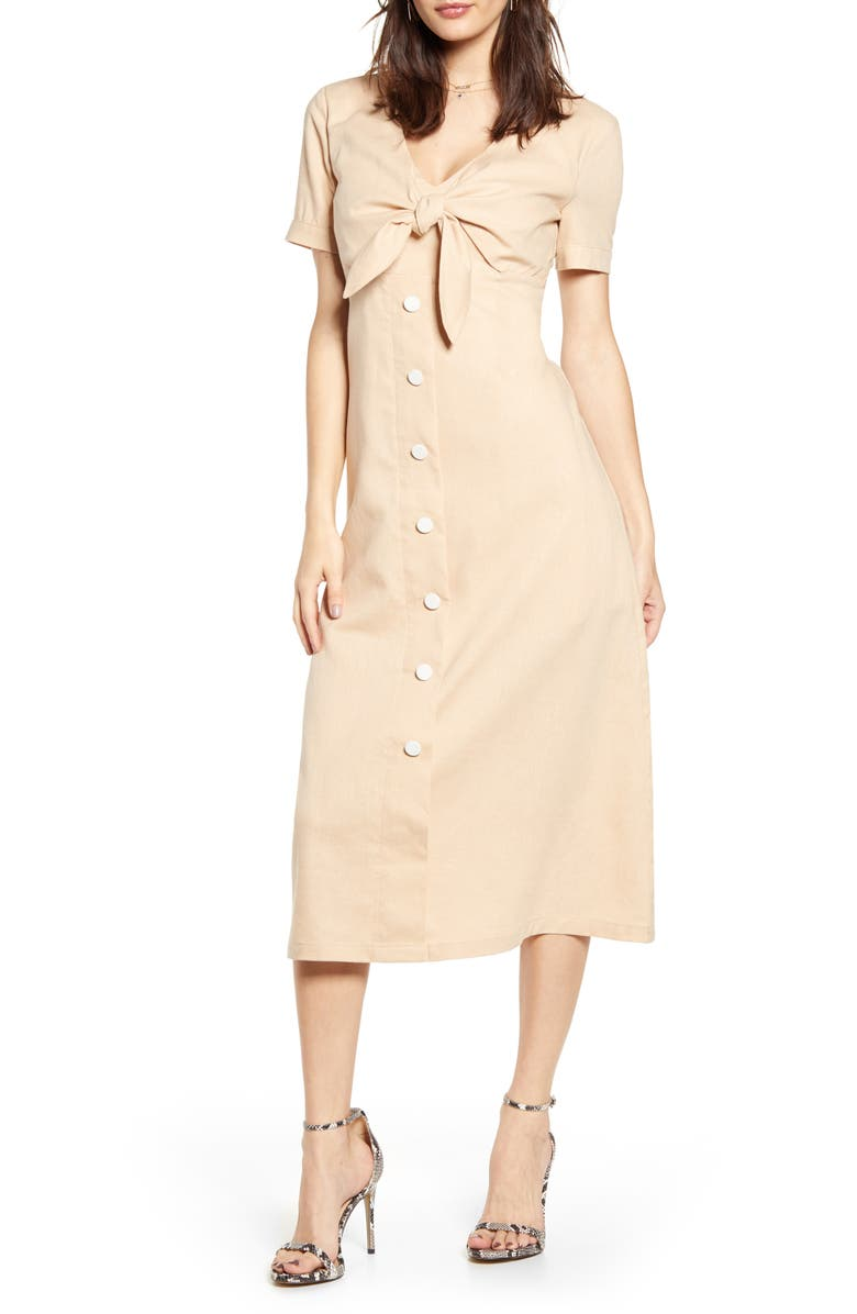 ENGLISH FACTORY Tie Front Midi Dress, Main, color, IVORY