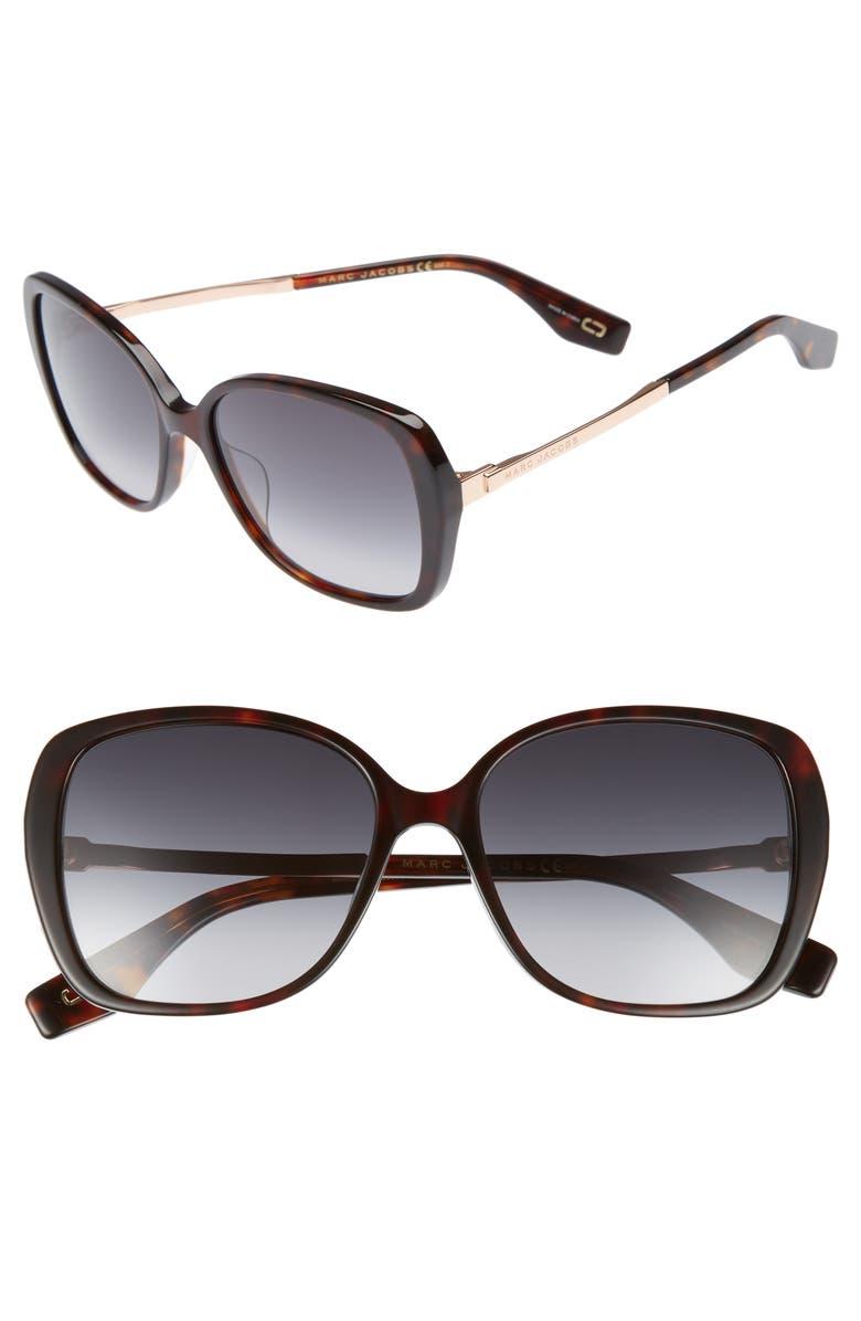 MARC JACOBS 56mm Sunglasses, Main, color, DARK HAVANA
