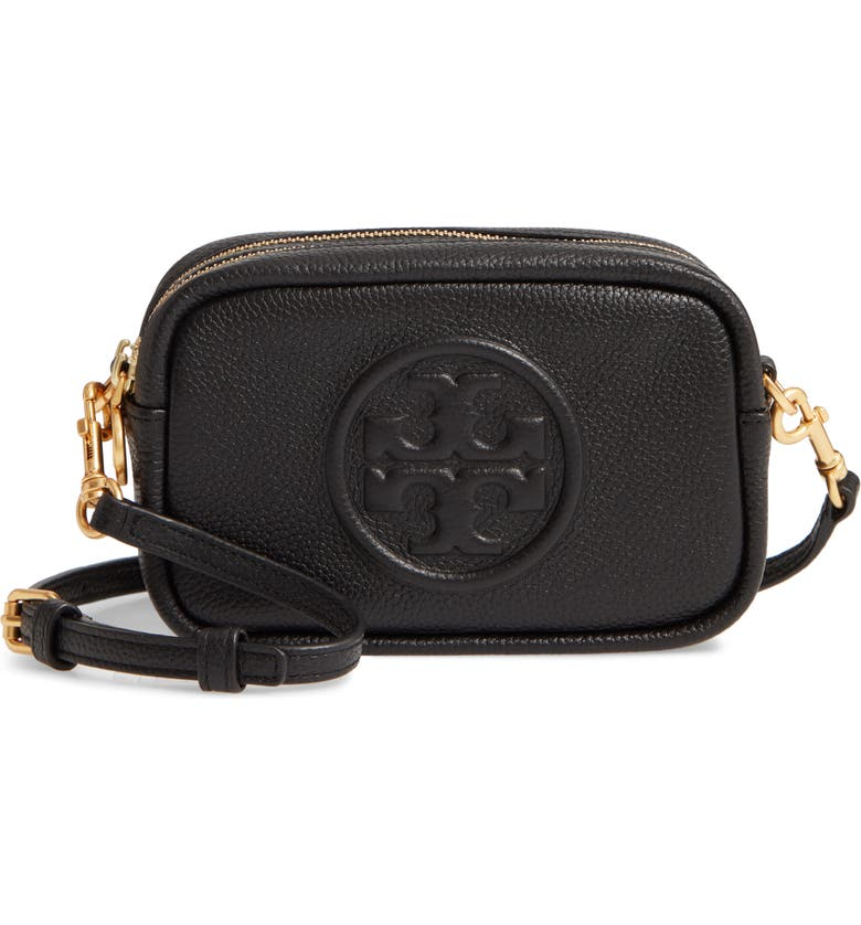 TORY BURCH Perry Bombe Leather Crossbody Bag, Main, color, BLACK
