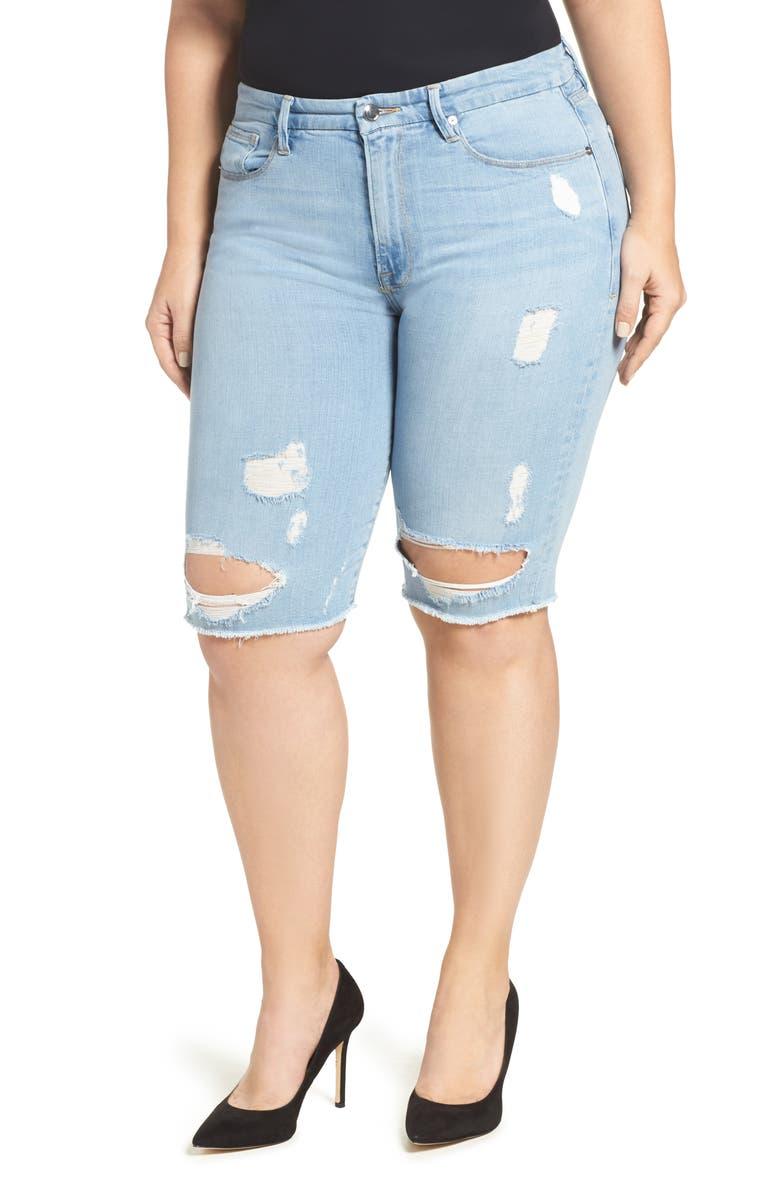 GOOD AMERICAN Destroyed Denim Bermuda Shorts, Main, color, 401