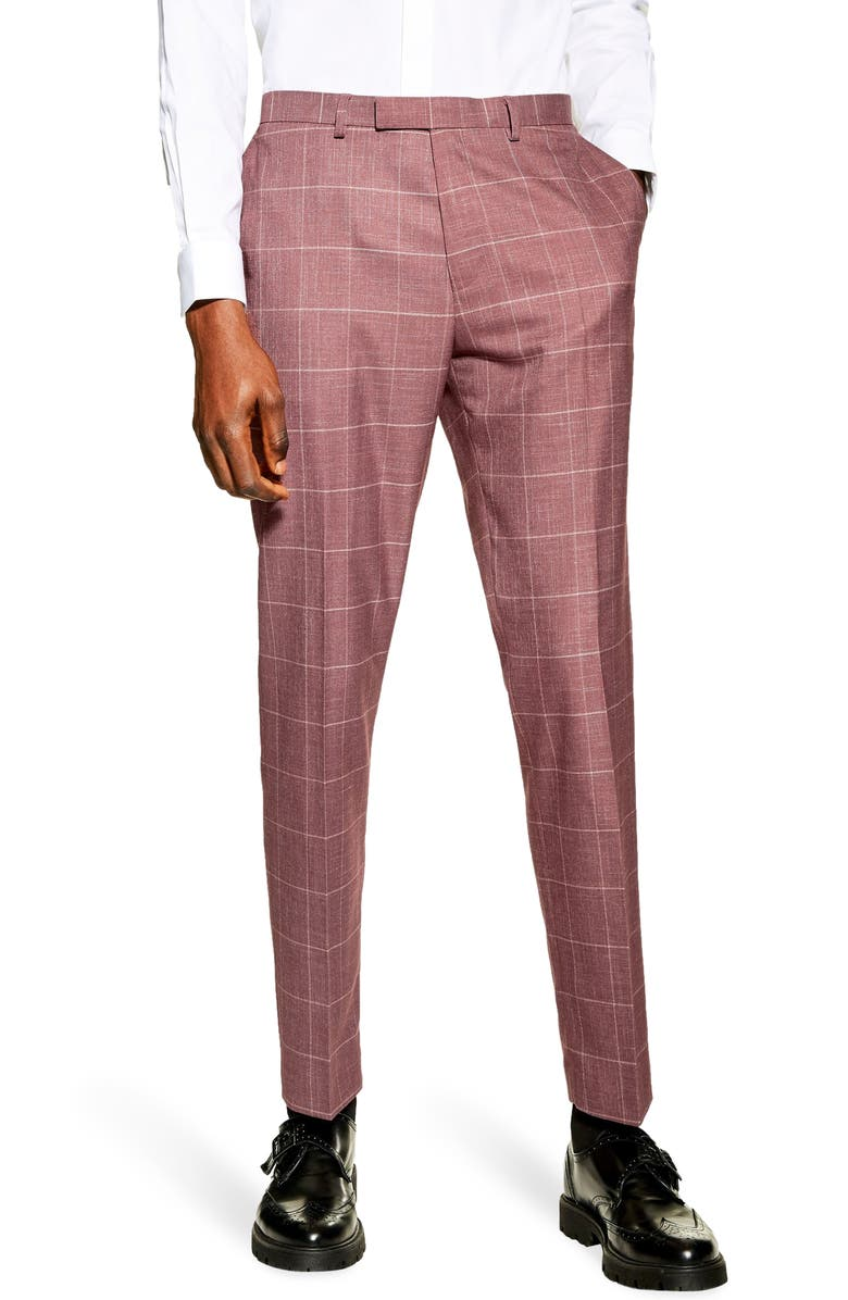 TOPMAN Slim Fit Windowpane Suit Dress Pants, Main, color, PINK