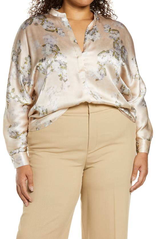 Vince HAZY BLOSSOM FLORAL SILK BLOUSE