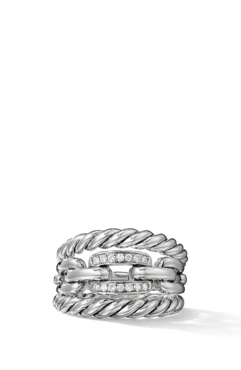 DAVID YURMAN Wellesley Link 3-Row Ring with Diamonds, Main, color, SILVER/ DIAMOND