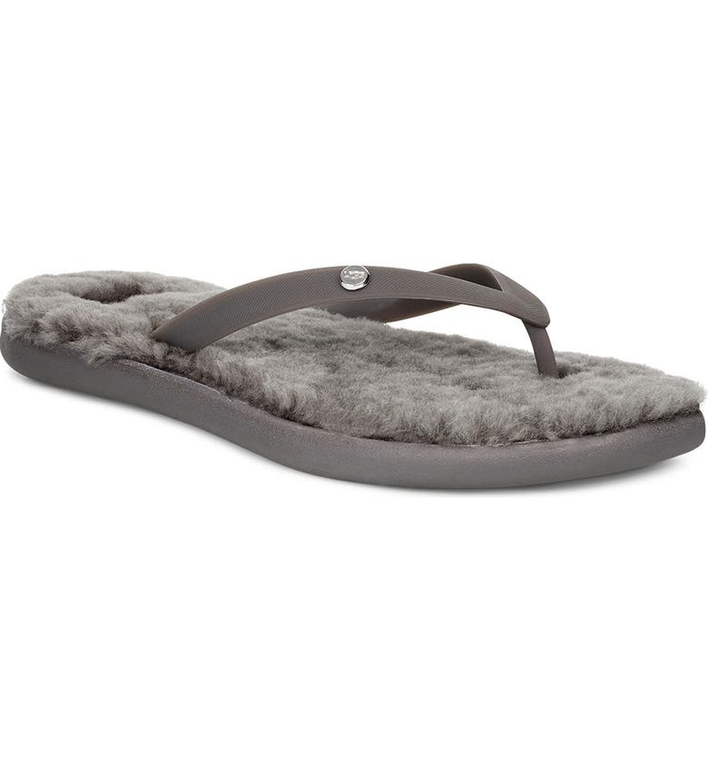 UGG<SUP>®</SUP> Fluffie II Genuine Shearling Flip Flop, Main, color, CHARCOAL