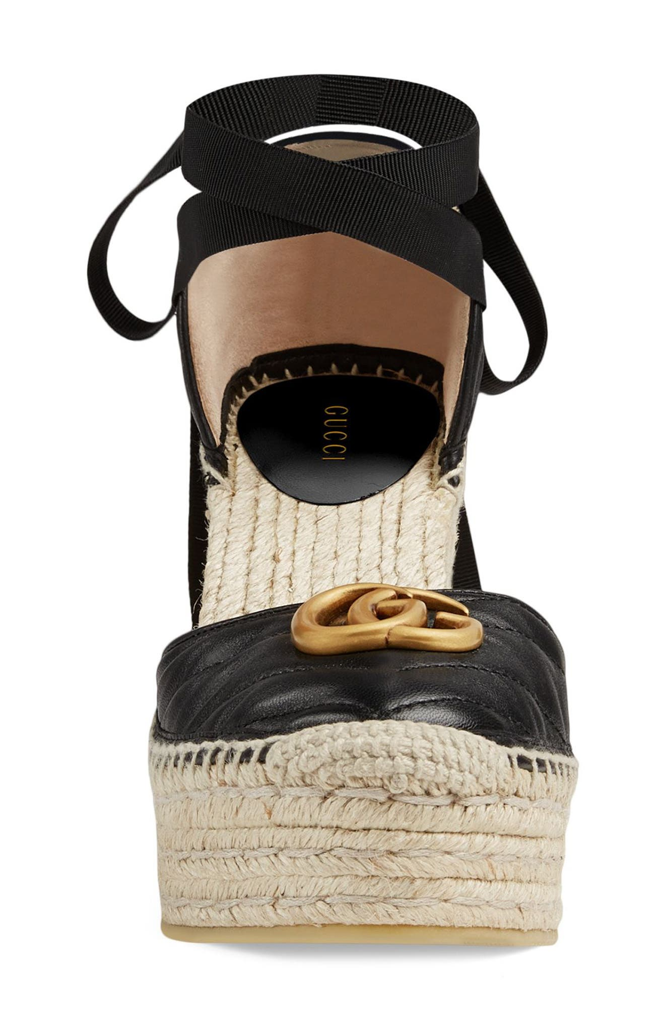 ,                             Palmyra Ankle Tie Espadrille Wedge,                             Alternate thumbnail 3, color,                             BLACK