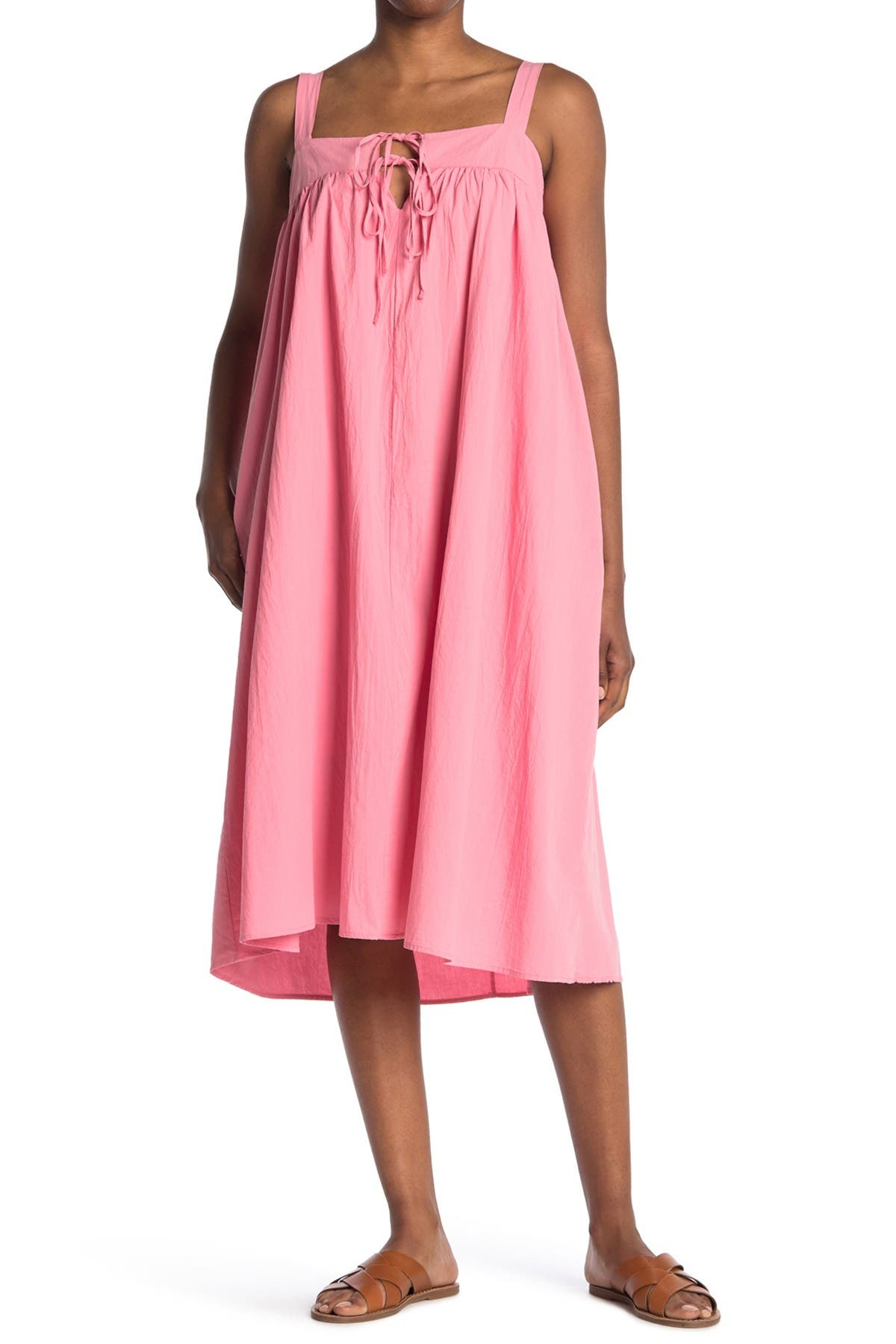 Image of STITCHDROP Adjustable Strap Tie Front Woven Dress