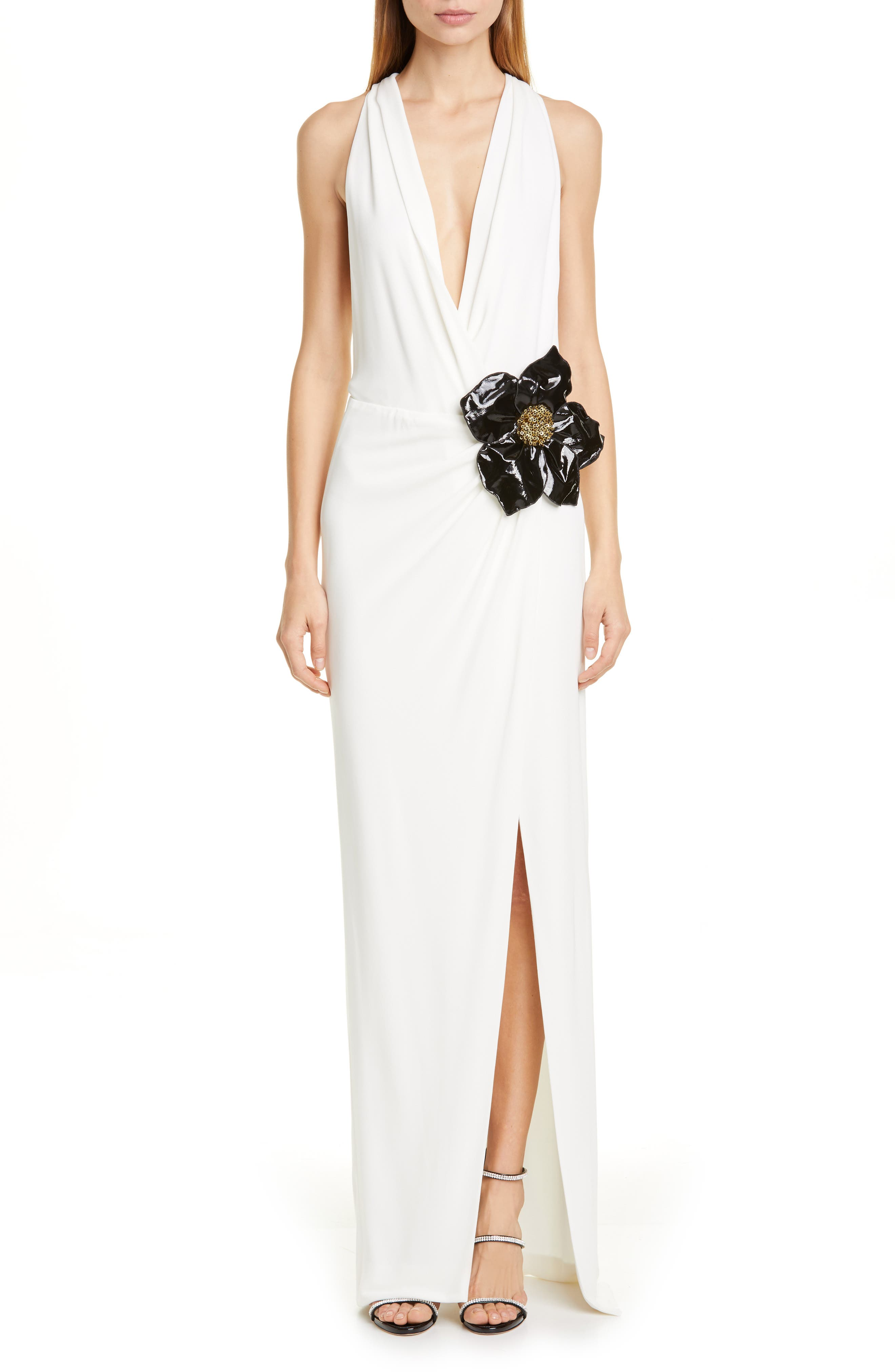 Haney Floral Applique Plunging Gown, Ivory