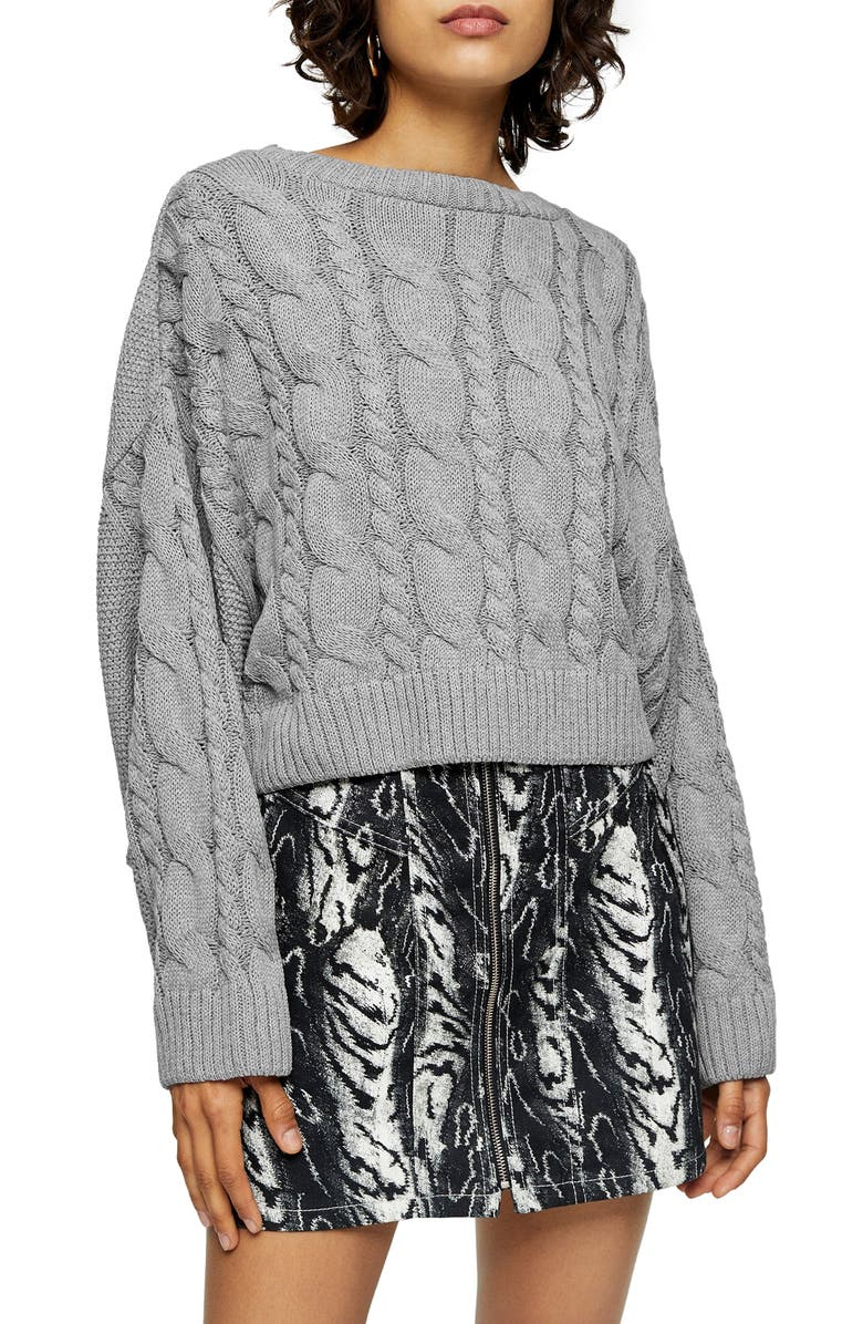 TOPSHOP Crop Batwing Sleeve Cable Sweater, Main, color, GREY MARL