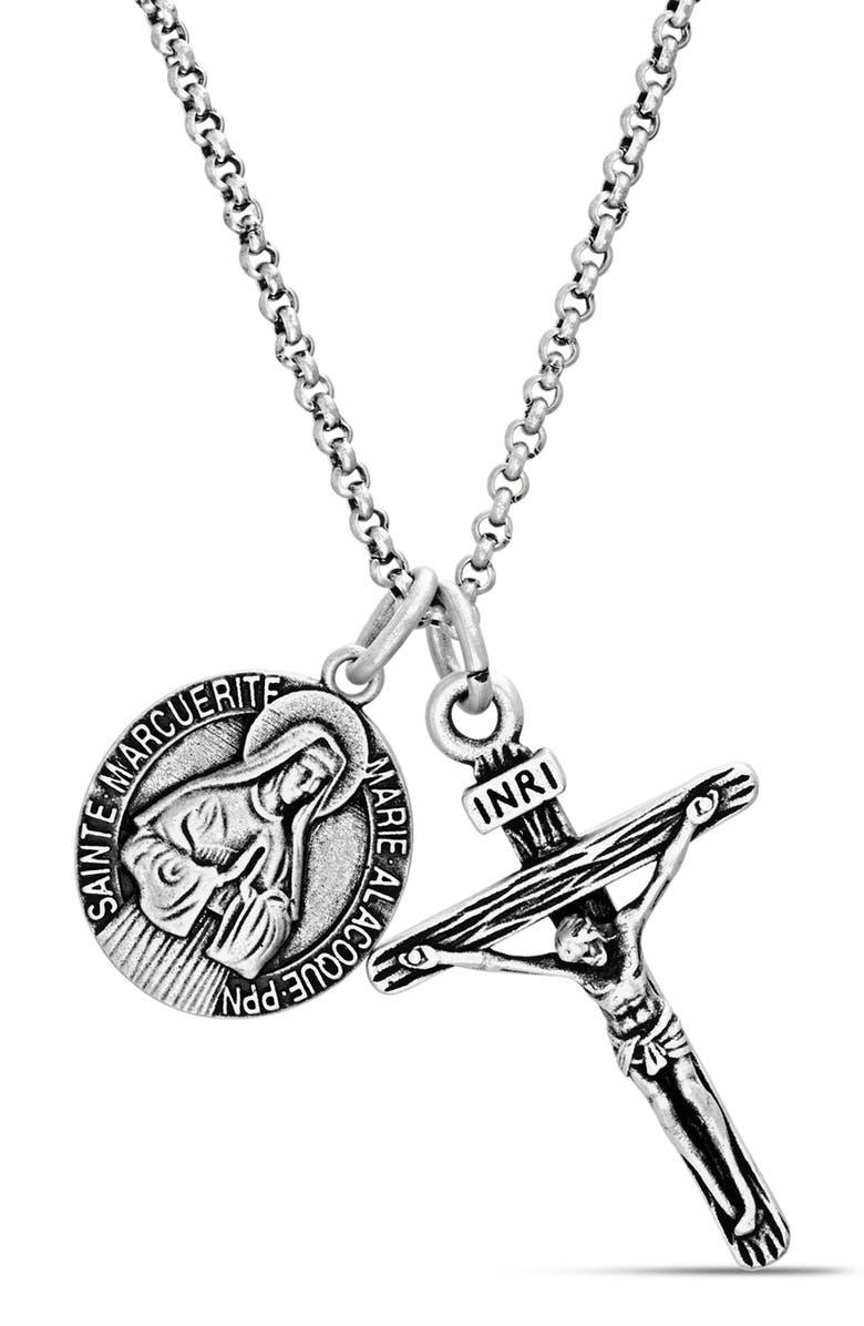 STEVE MADDEN Medallion Crucifix Pendant Necklace, Main, color, METALLIC SILVER