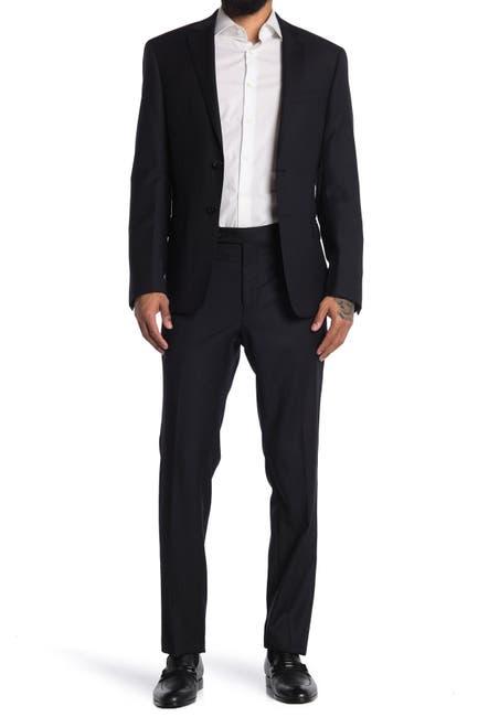 Image of Calvin Klein Black Solid Two Button Notch Lapel Suit