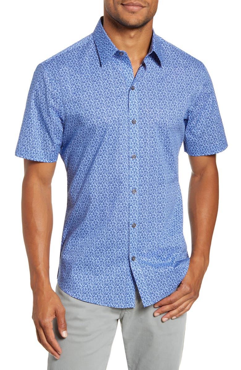 ZACHARY PRELL Perani Regular Fit Print Short Sleeve Button-Up Shirt, Main, color, LIGHT BLUE