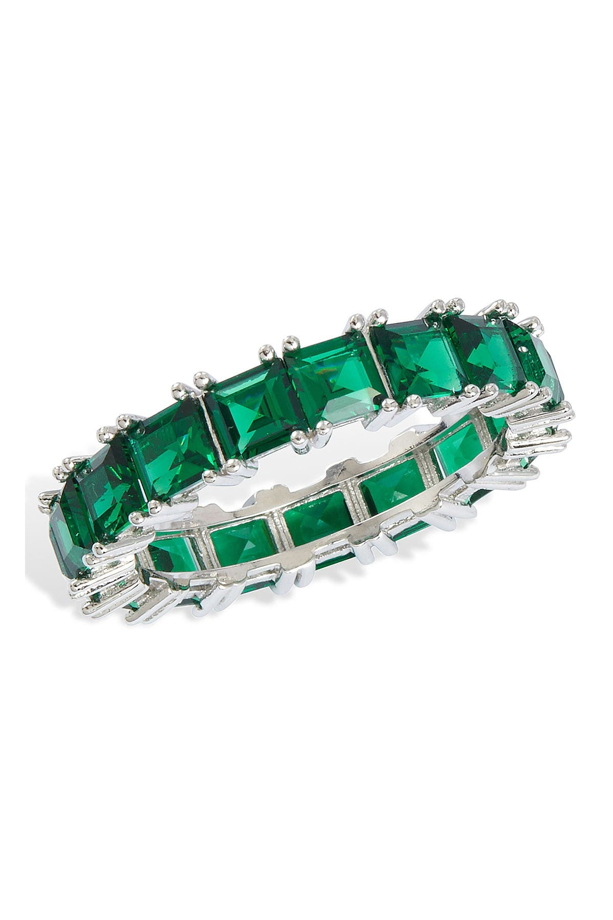 Image of Savvy Cie Sterling Silver Square Emerald Baguette Ring