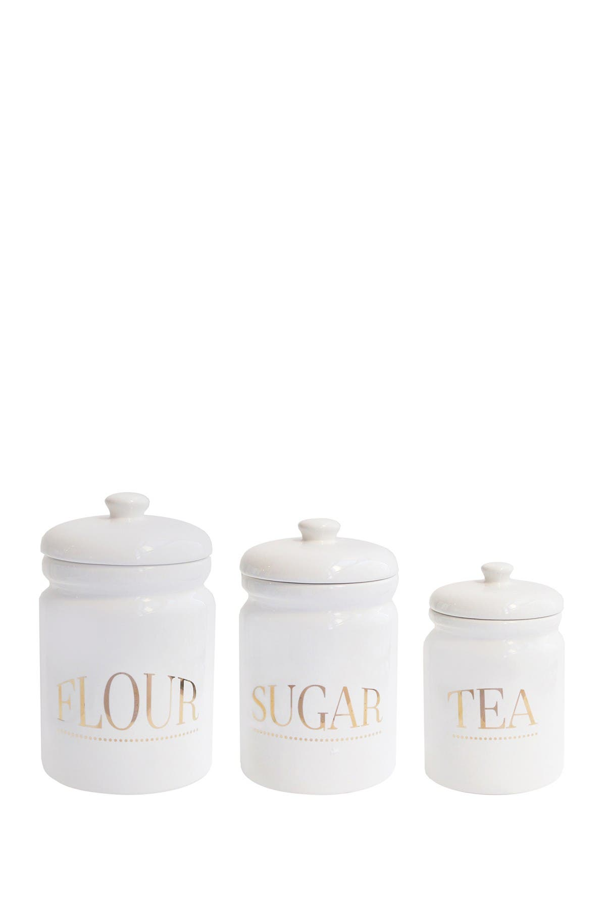 Image of Jay Import White/Gold Pantry Canister 3-Piece Set