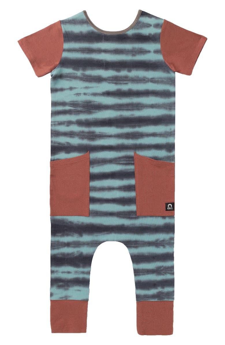 RAGS Tie Dye Hip Pocket Romper, Main, color, STONE BLUE TIE DYE