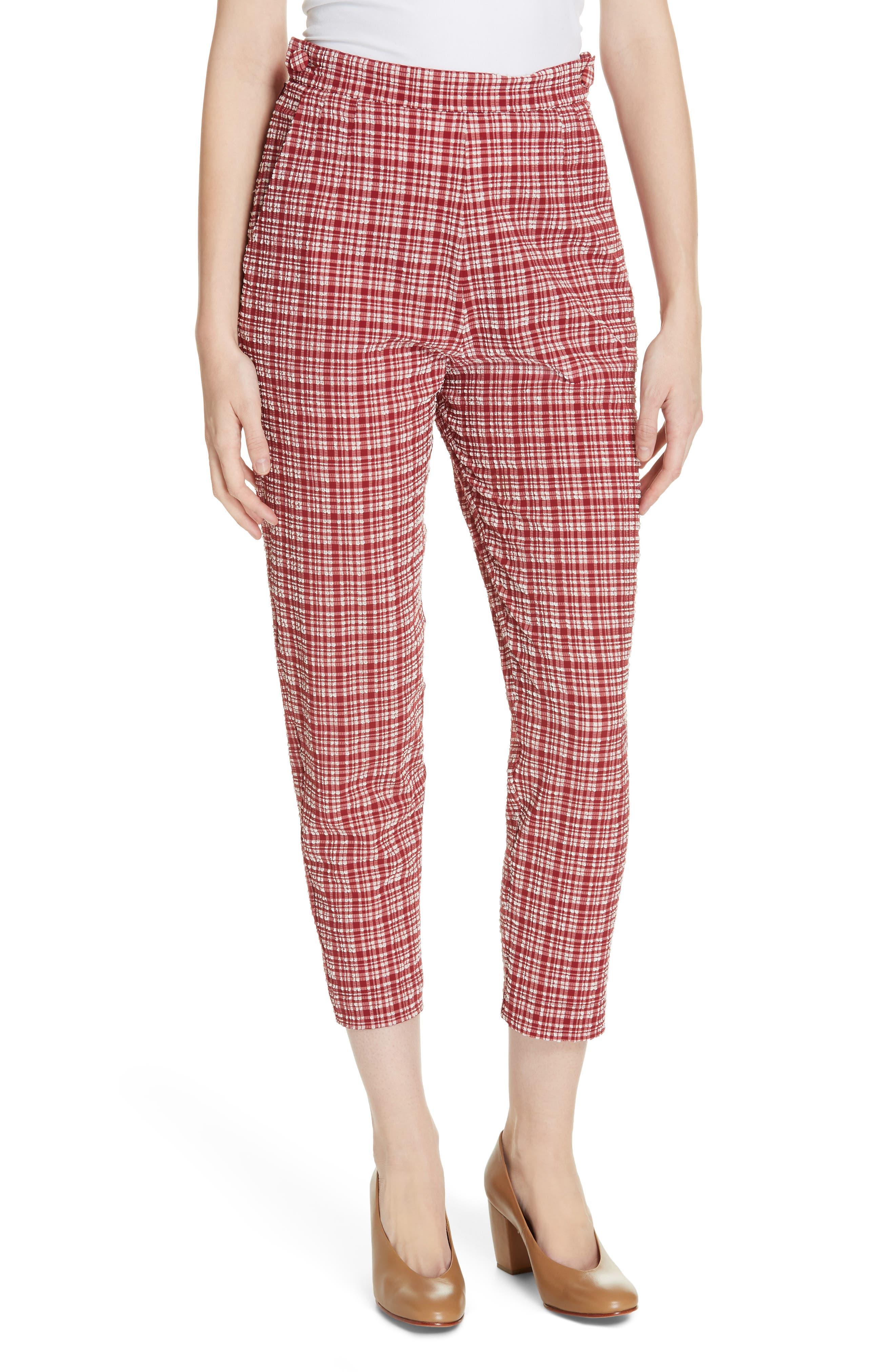 Westside Seersucker Crop Pants, Main, color, CRIMSON