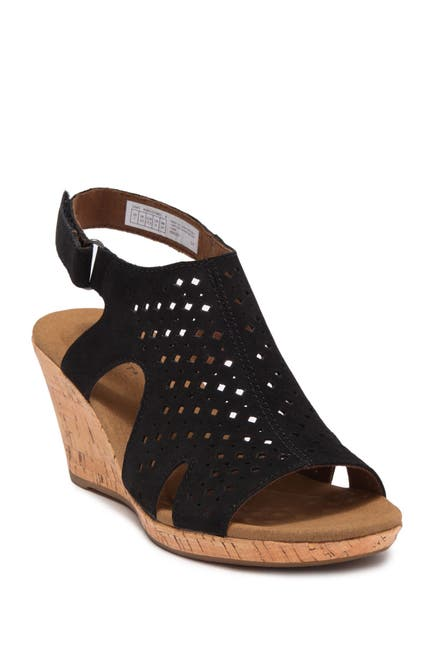 Image of Rockport Briah Hood Suede Slingback Wedge Sandal - Wide Width Available