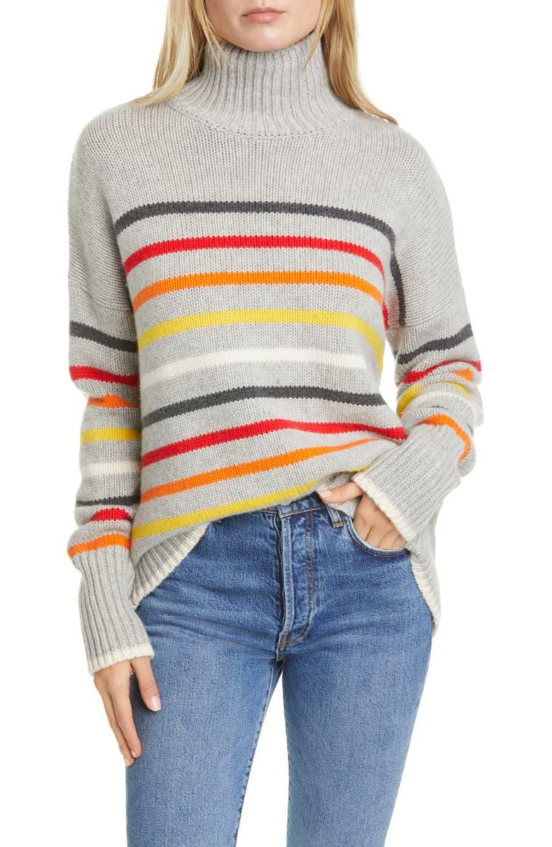 LA LIGNE Marin Stripe Wool & Cashmere Turtleneck Sweater, Main, color, GREY/ RAINBOW