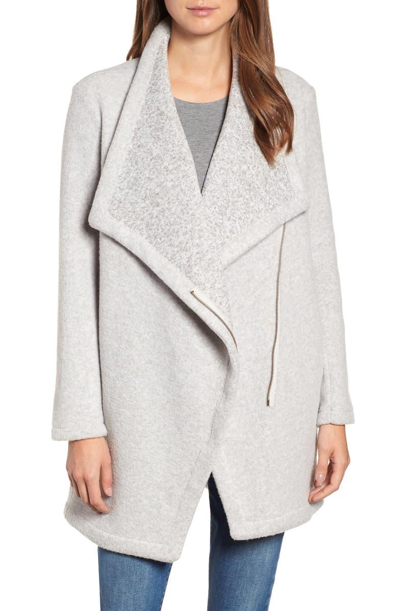 BB DAKOTA Maggie Brushed Fleece Drape Collar Coat, Main, color, 050