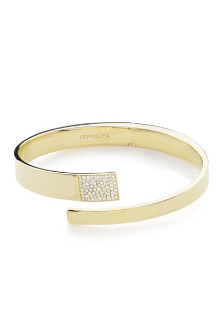Image of Ippolita Senso 18K Yellow Gold Embrace Pave Diamond Hinged Bangle Bracelet - 0.47 ctw