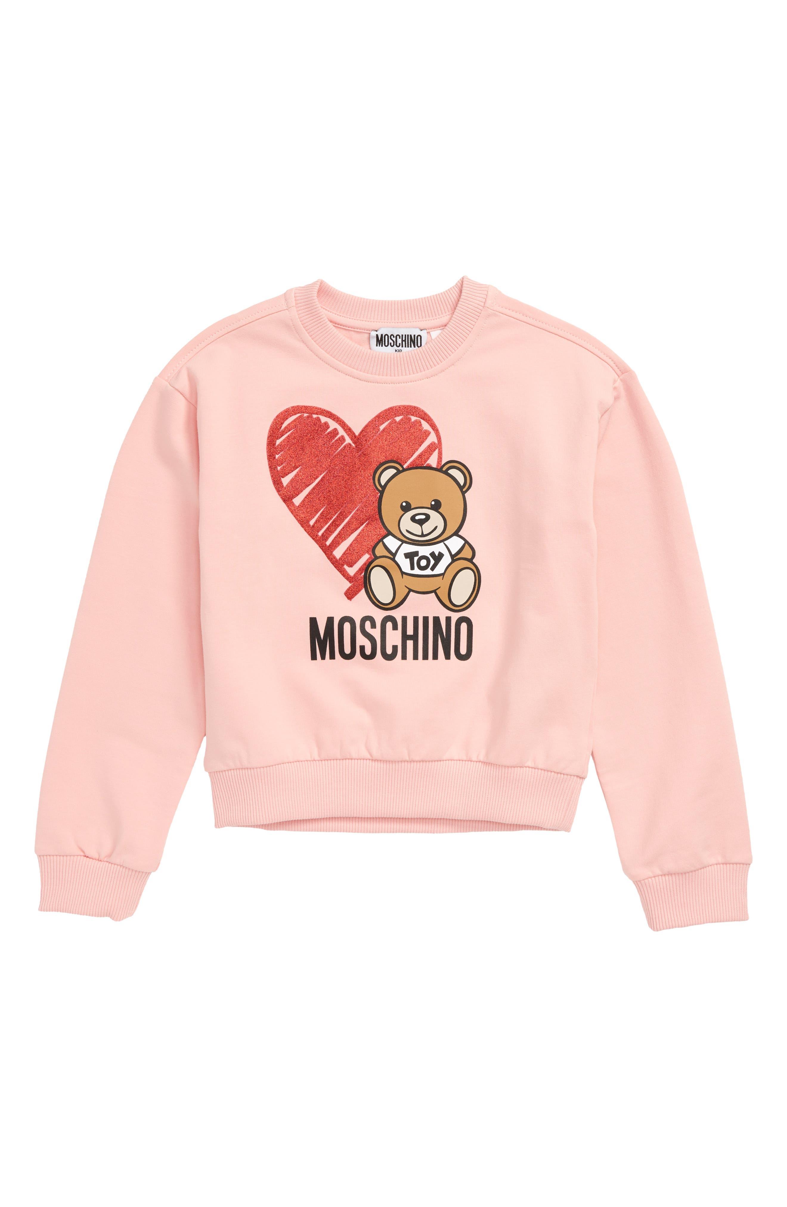 Girls Moschino Heart Logo Sweatshirt Size 4Y  Pink