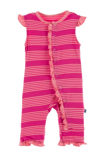 Image of KicKee Pants Print Ruffle Tank Romper in Calypso Agriculture Stripe