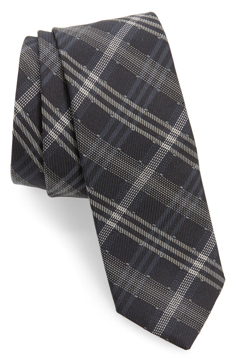 TITLE OF WORK Dotted Plaid Silk & Wool Tie, Main, color, 001
