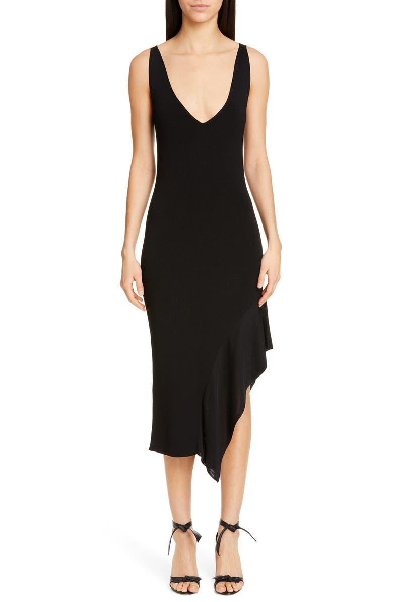 CUSHNIE Asymmetrical Ruffle Hem Midi Dress, Main, color, BLACK