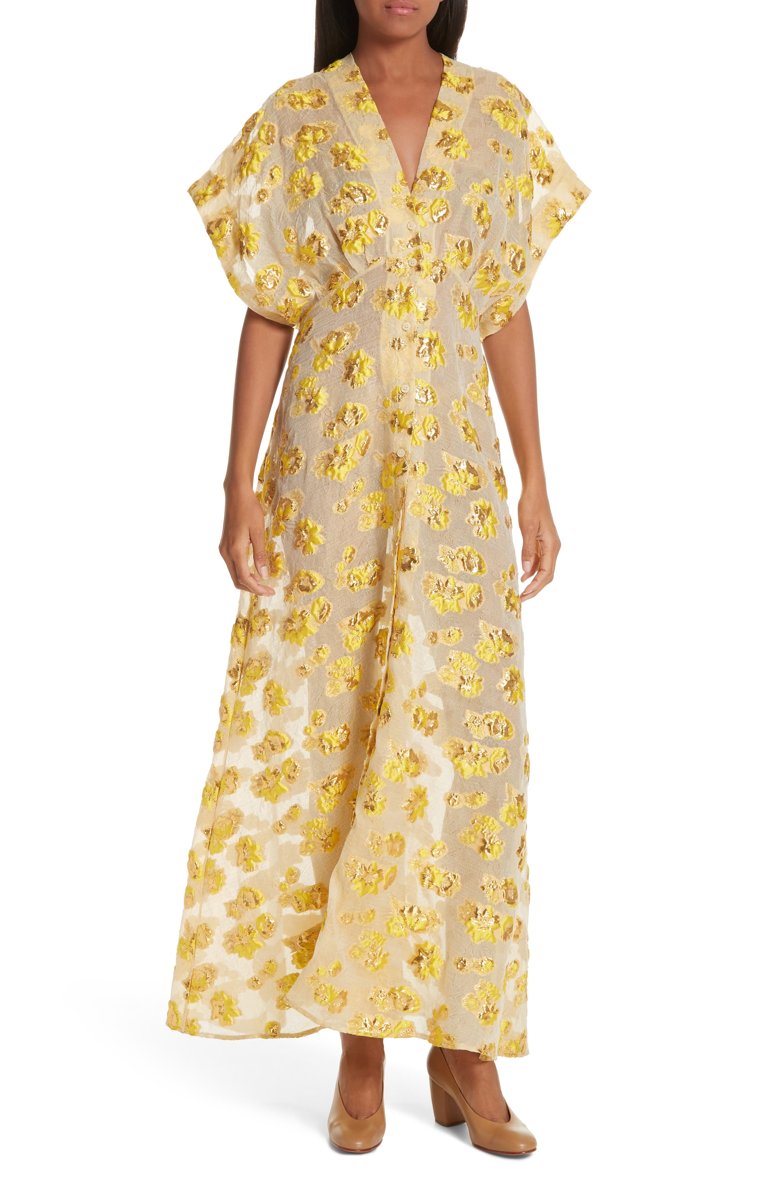Rachel Comey Tendril Floral Fil Coupe Organza Maxi Dress, Yellow