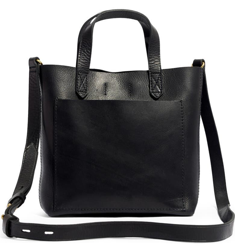 MADEWELL Small Transport Leather Crossbody, Main, color, TRUE BLACK