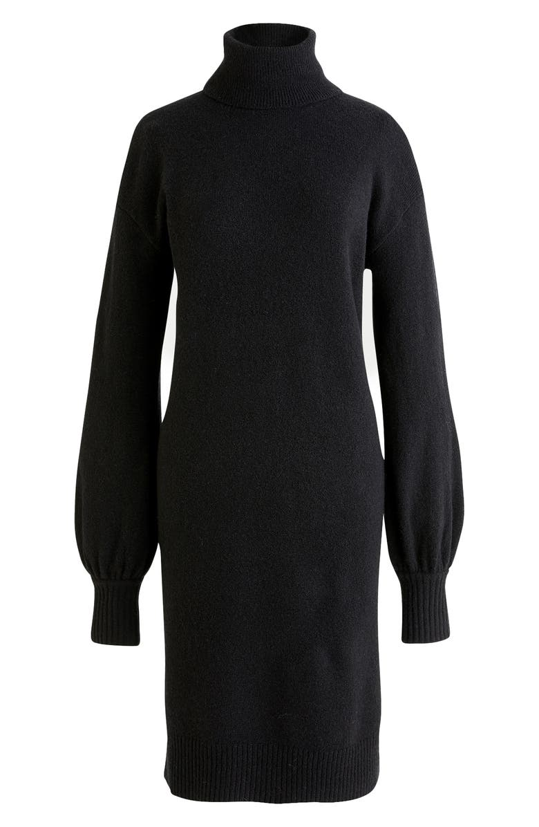 J.CREW Supersoft Turtleneck Sweater Dress, Alternate, color, BLACK