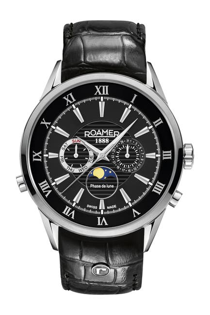 Image of Roamer Men's Superior Moonphase 3-Hand Day Date Watch