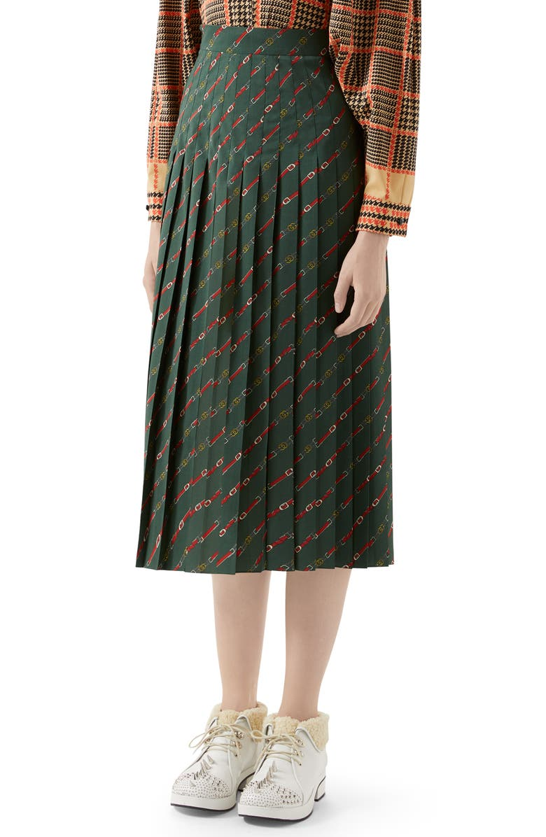 GUCCI Pleated Belt Print Wool Midi Skirt, Main, color, GREEN/ RED PRINTED