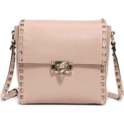 Valentino Garavani Rockstud Leather Shoulder Bag - Beige