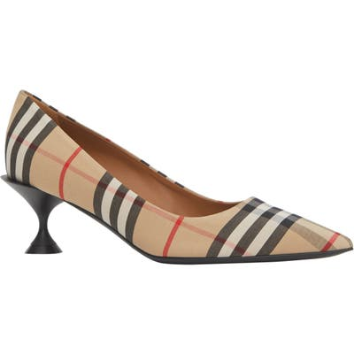 Burberry Lillyton Check Pump, Beige