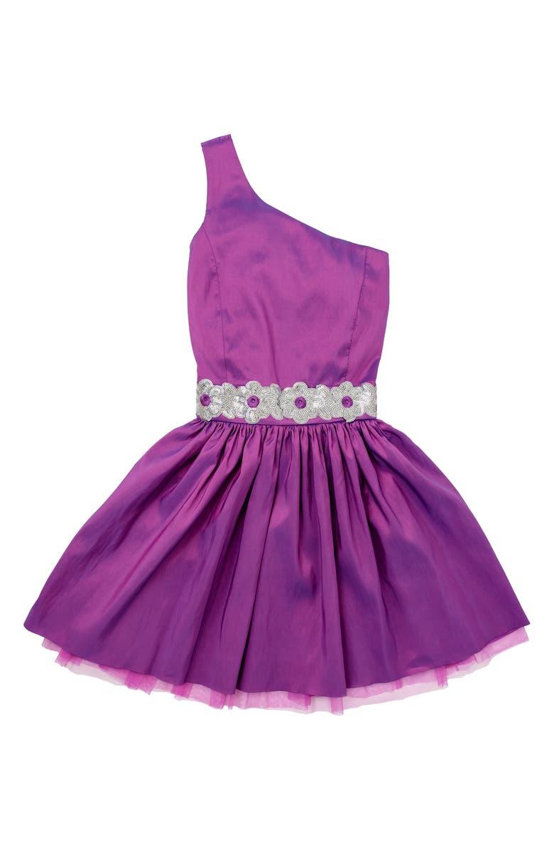 STELLA M'LIA One-Shoulder Embellished Taffeta Dress, Main, color, PURPLE