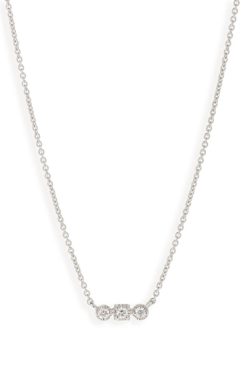 BONY LEVY Maya 3-Stone Horizontal Necklace, Main, color, WHITE GOLD/ DIAMOND