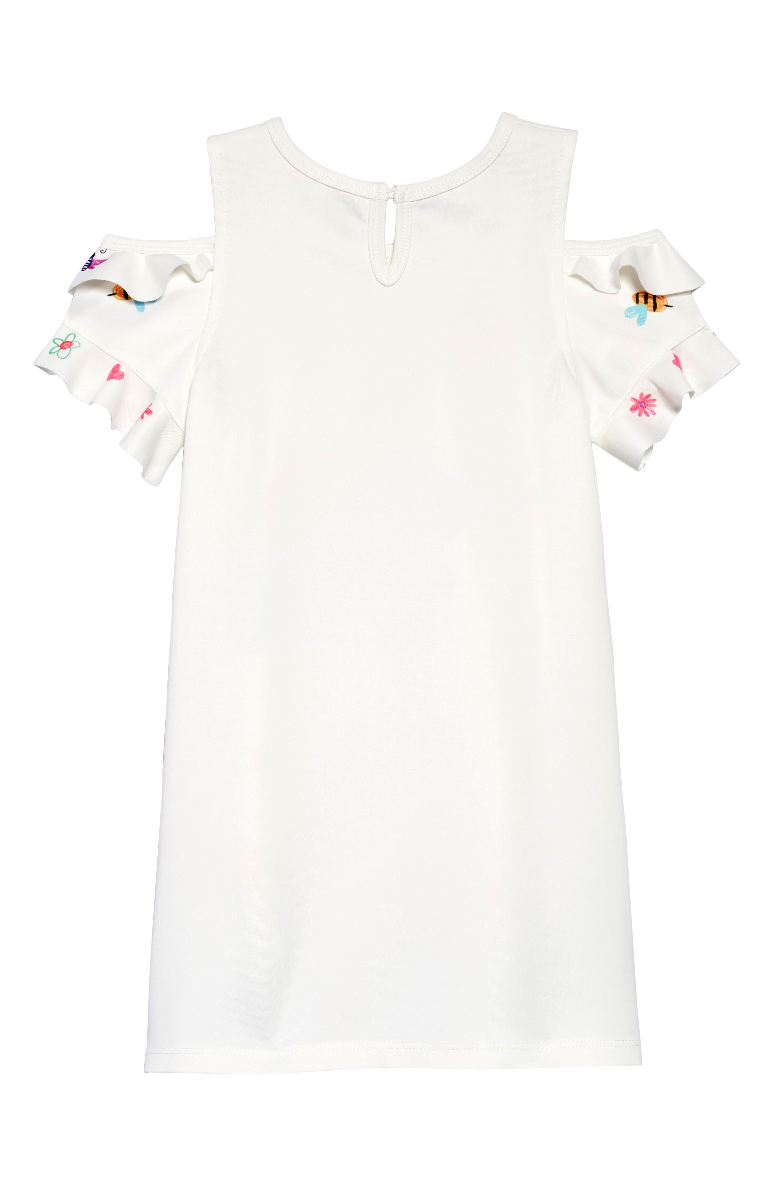 ,                             Colorful Drawing Cold-Shoulder Dress,                             Alternate thumbnail 2, color,                             WHITE