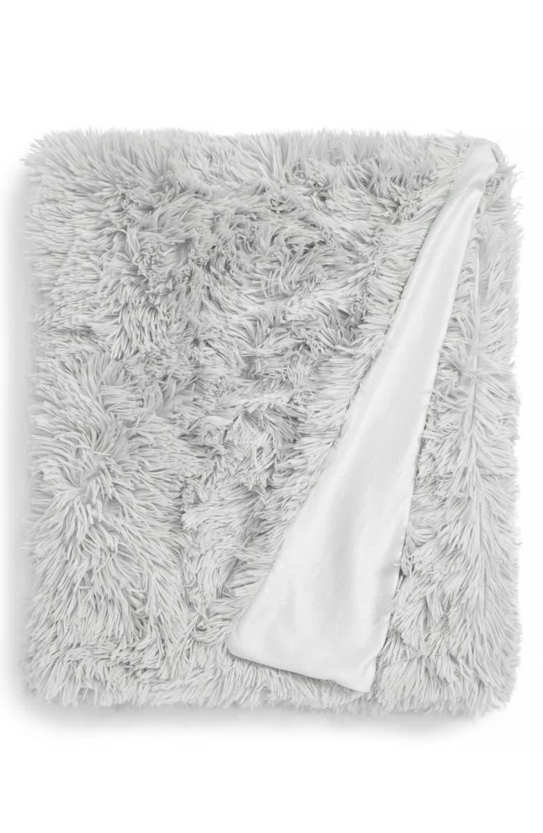 NORDSTROM AT HOME Feather Faux Fur Throw, Main, color, 010