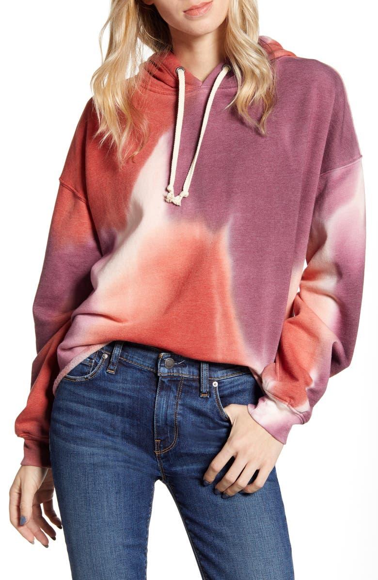TREASURE & BOND Tie Dye Hooded Sweatshirt, Main, color, BURGUNDY- RED COMBO
