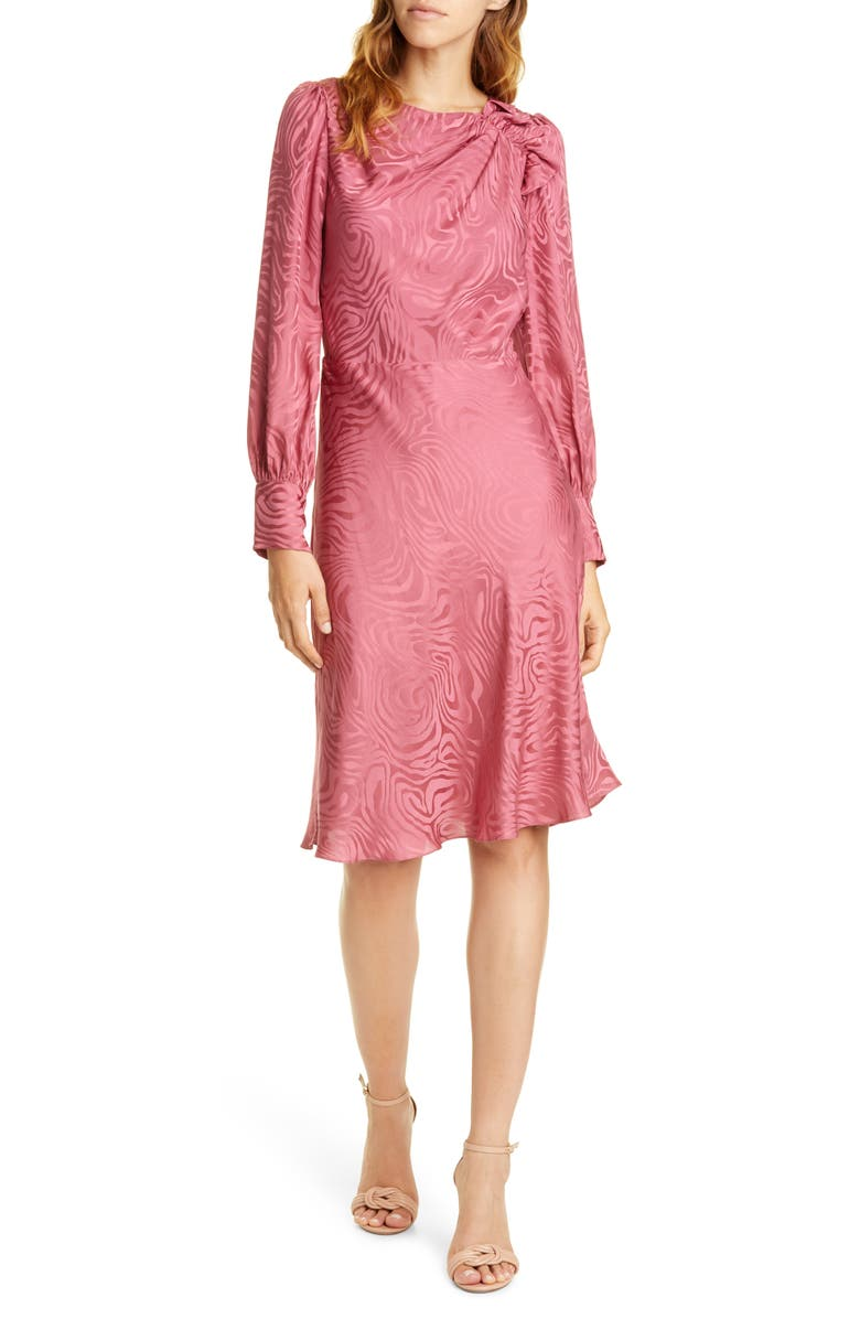 REBECCA TAYLOR Swirl Jacquard Long Sleeve Silk Blend Dress, Main, color, HIBISCUS