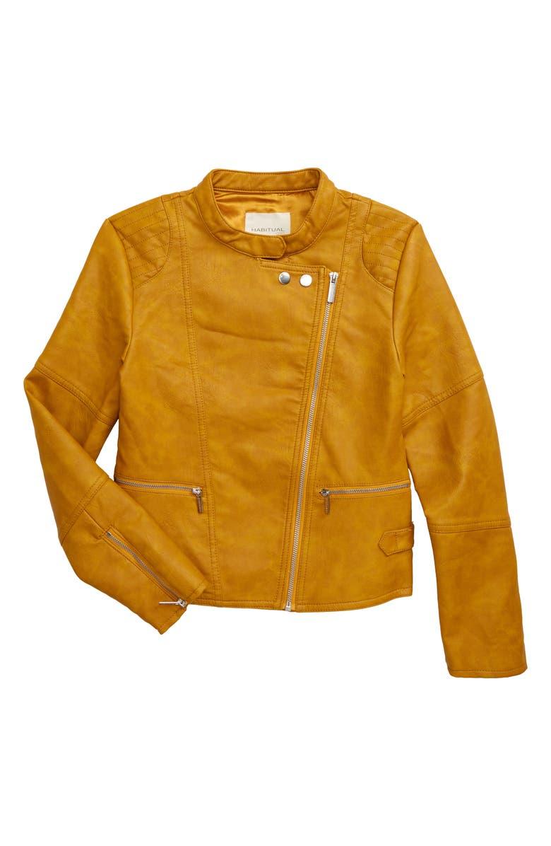 HABITUAL Luna Faux Leather Jacket, Main, color, GOLD