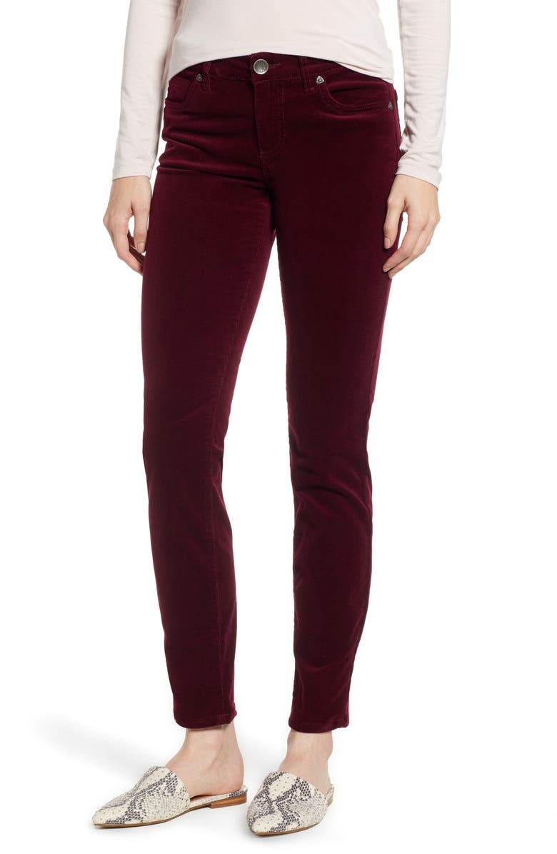 KUT FROM THE KLOTH Diana Stretch Corduroy Skinny Pants, Main, color, BURGUNDY