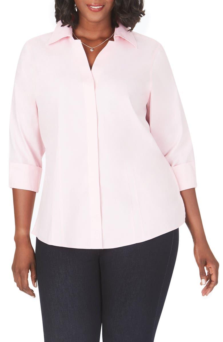 FOXCROFT 'Taylor' Three-Quarter Sleeve Non-Iron Cotton Shirt, Main, color, CHAMBRAY PINK