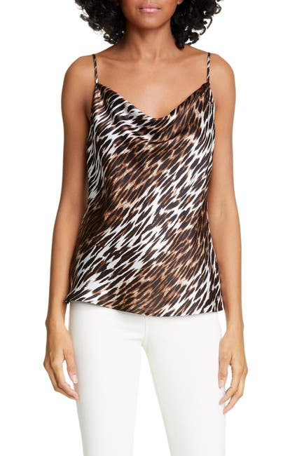 Image of L'AGENCE Kay Animal Print Cowl Neck Silk Camisole