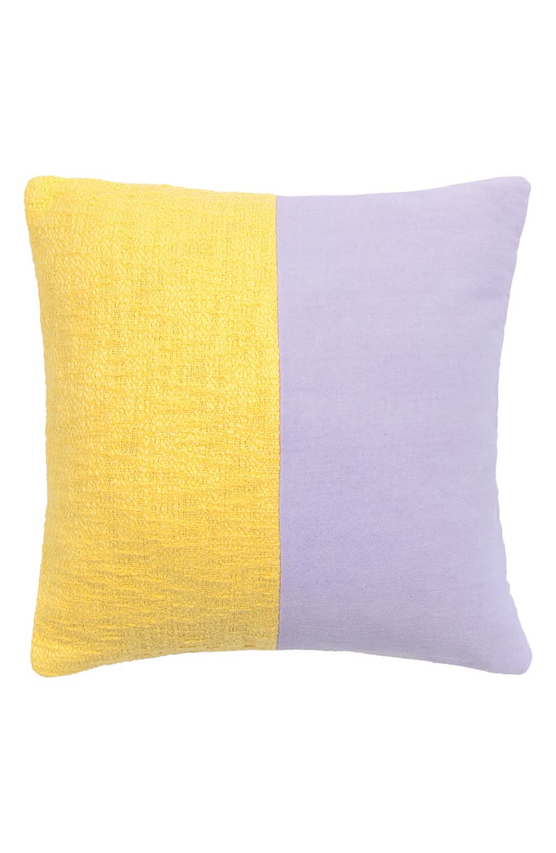 KATE SPADE NEW YORK colorblock accent pillow, Main, color, CHARTREUSE/ FROZEN LILAC