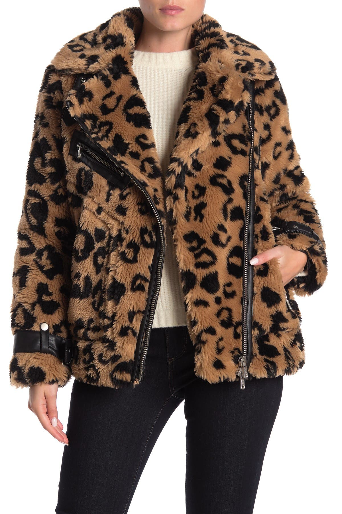 Image of AVEC LES FILLES Biker Faux Fur Coat