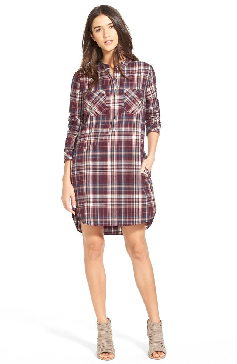 TREASURE & BOND Treasure&Bond Popover Plaid Shirtdress, Main, color, 930