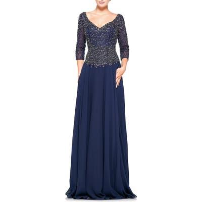 Marsoni Embellished Chiffon A-Line Gown, Blue