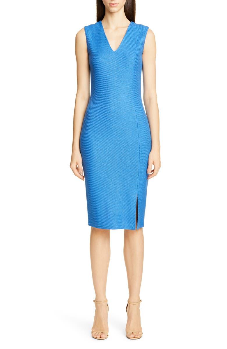 ST. JOHN COLLECTION Sarga Knit Twill Sheath Dress, Main, color, LAKE BLUE