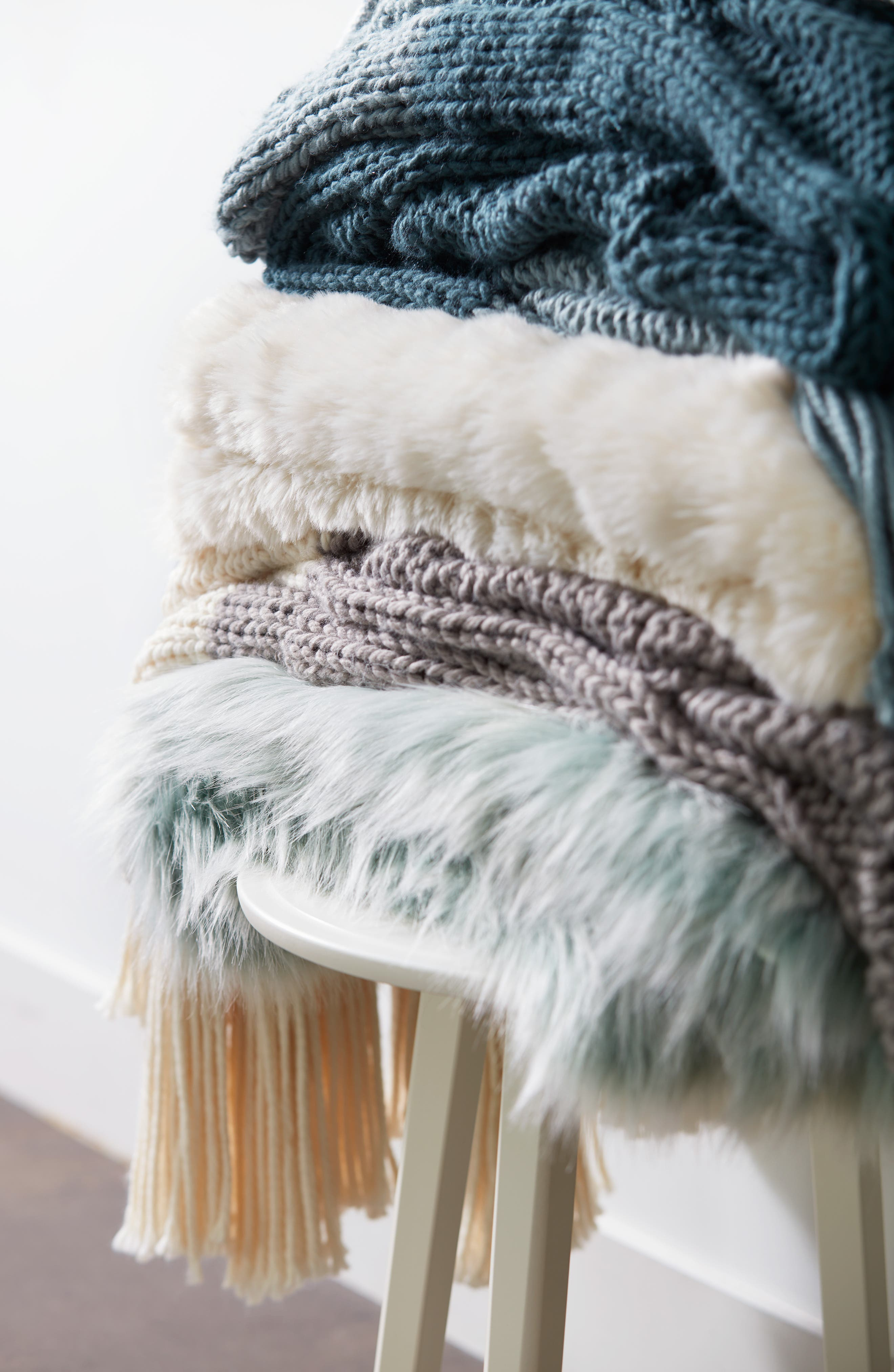 ,                             Knit Throw,                             Alternate thumbnail 6, color,                             GREEN SHORE MULTI